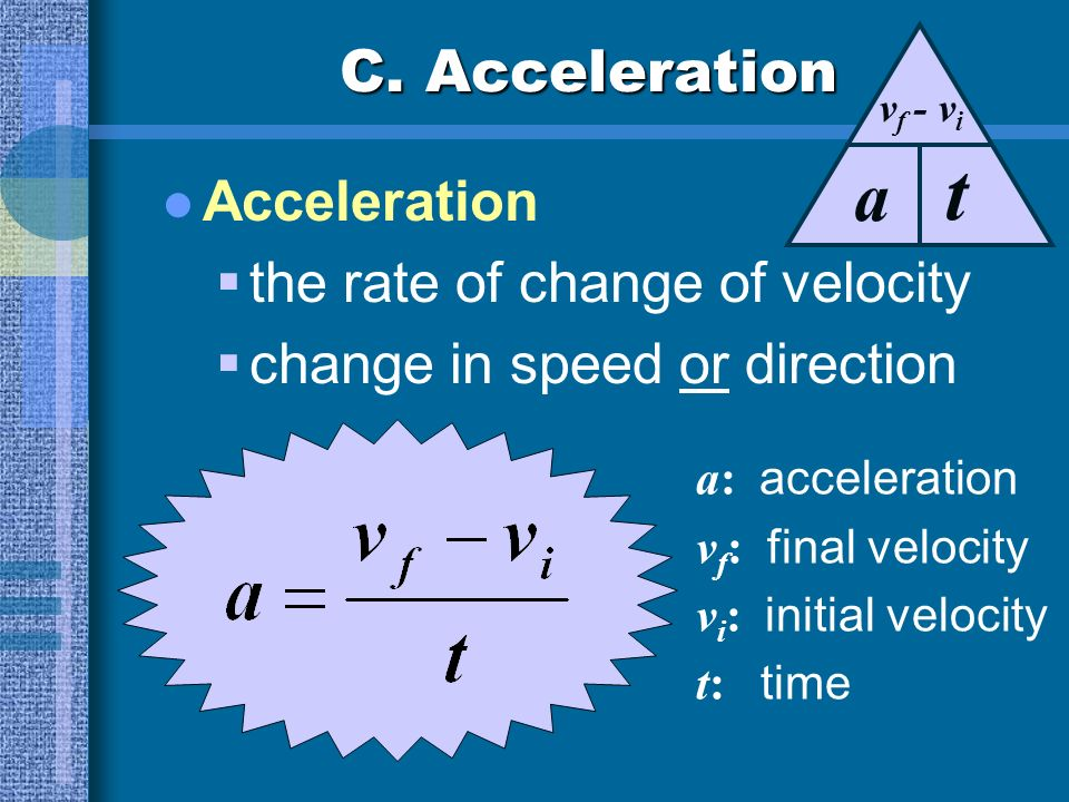 t a C. Acceleration Acceleration the rate of change of velocity