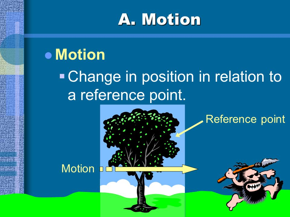 A. Motion Motion Change in position in relation to a reference point.