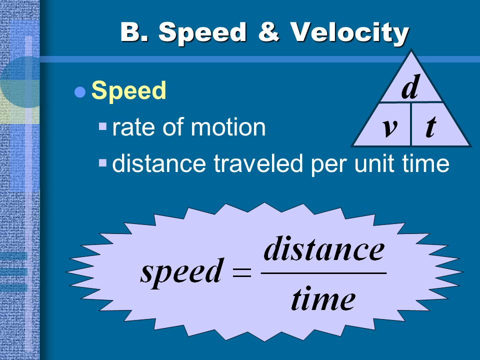 v d t B. Speed & Velocity Speed rate of motion