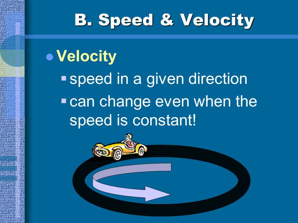 B. Speed & Velocity Velocity speed in a given direction