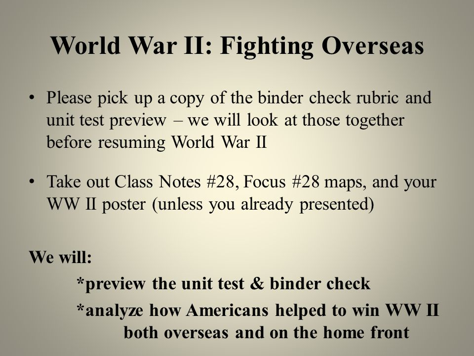 World War II: Fighting Overseas