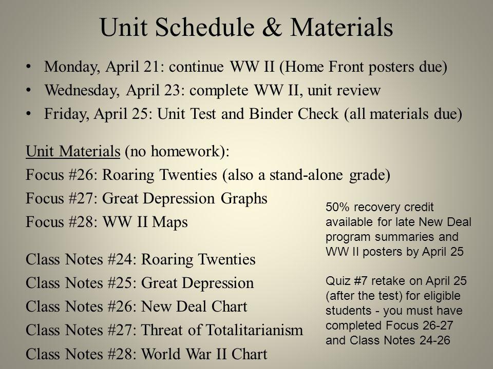 Unit Schedule & Materials