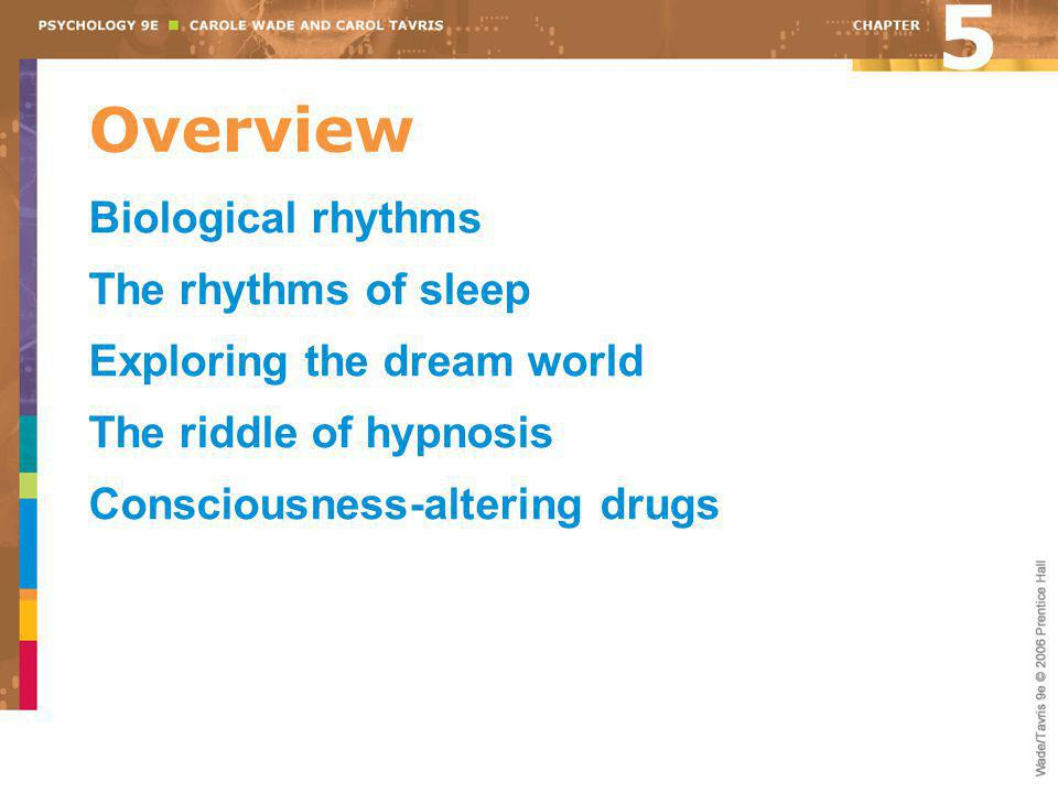 5 Overview Biological rhythms The rhythms of sleep