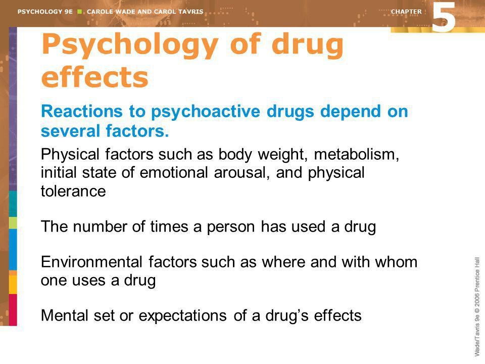 Psychology of drug effects