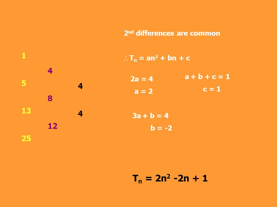 Tn = 2n2 -2n + 1 1 5 4 13 8 4 25 12 2nd differences are common