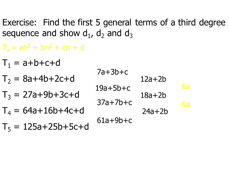 Exercise: Find the first 5 general terms of a third degree sequence and show d1, d2 and d3. Tn = an3 + bn2 + cn + d.