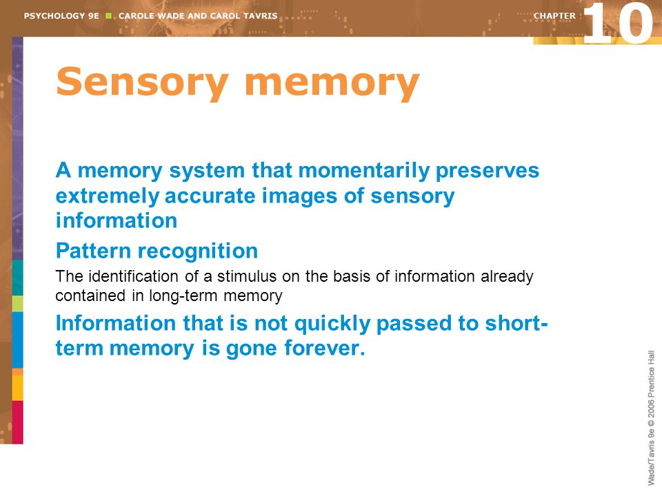 10 Sensory memory. A memory system that momentarily preserves extremely accurate images of sensory information.