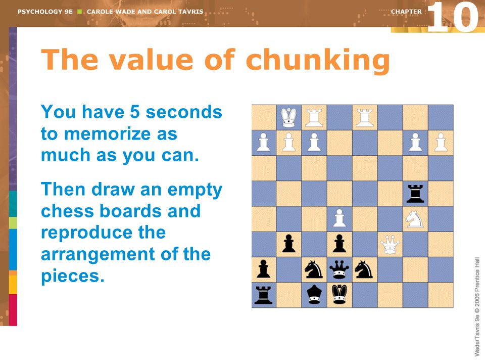 10 The value of chunking. You have 5 seconds to memorize as much as you can.