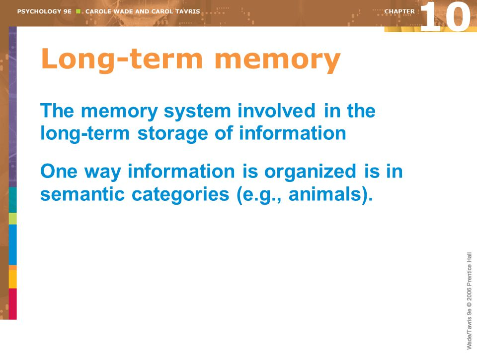 10 Long-term memory. The memory system involved in the long-term storage of information.
