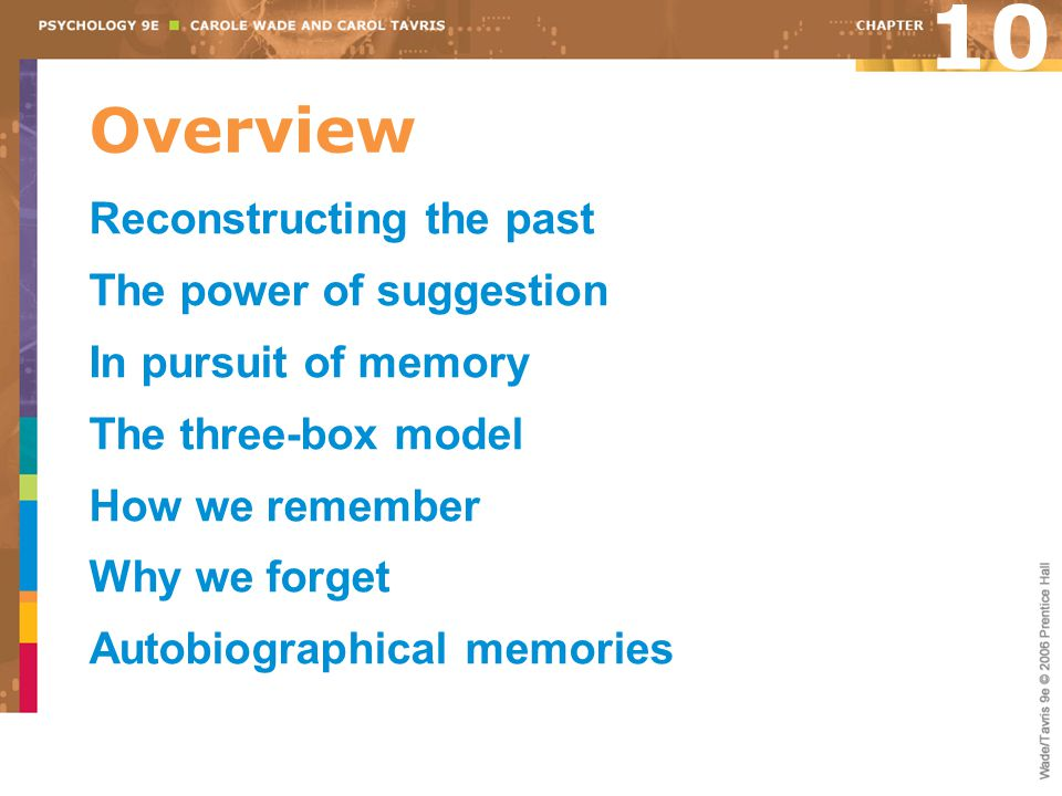 10 Overview Reconstructing the past The power of suggestion