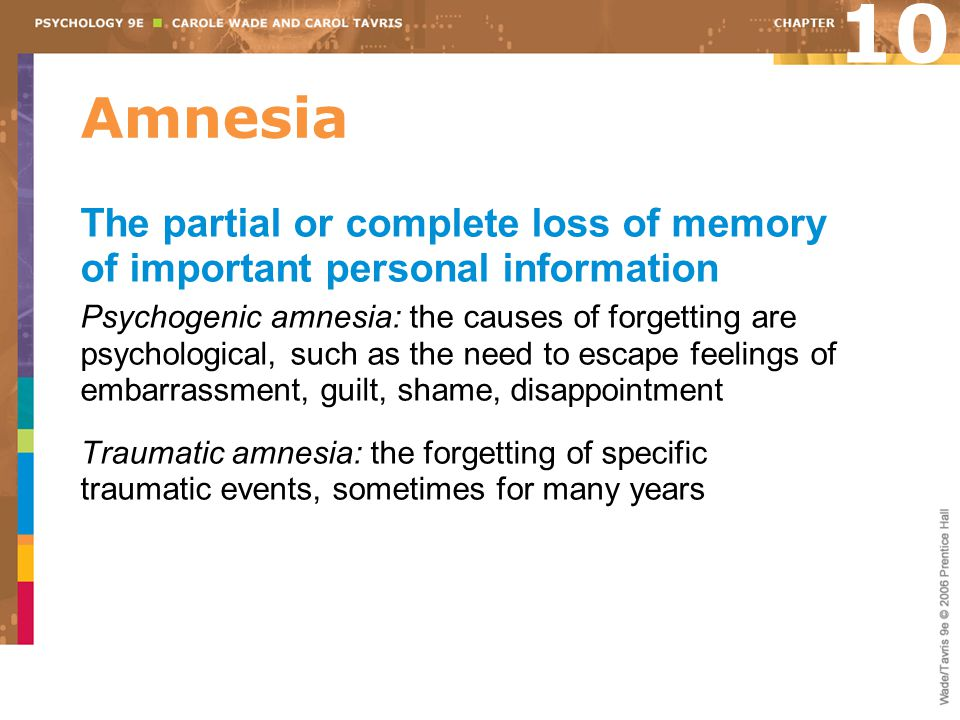 10 Amnesia. The partial or complete loss of memory of important personal information.