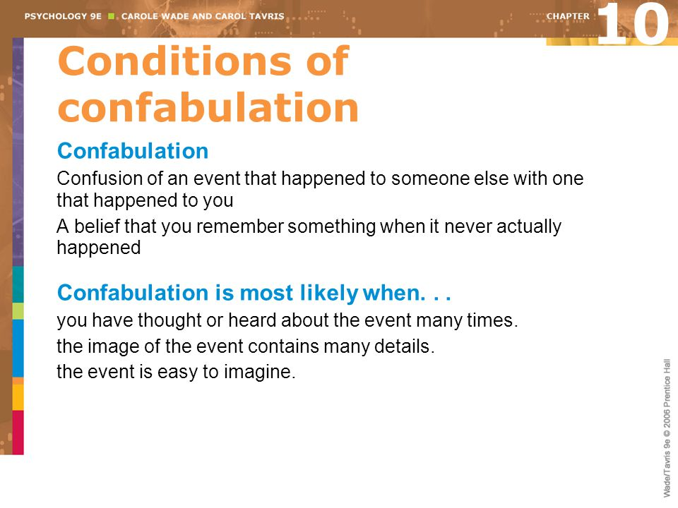 Conditions of confabulation