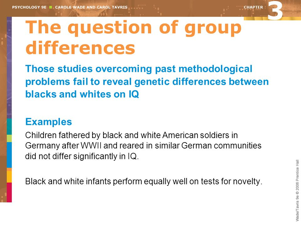 The question of group differences