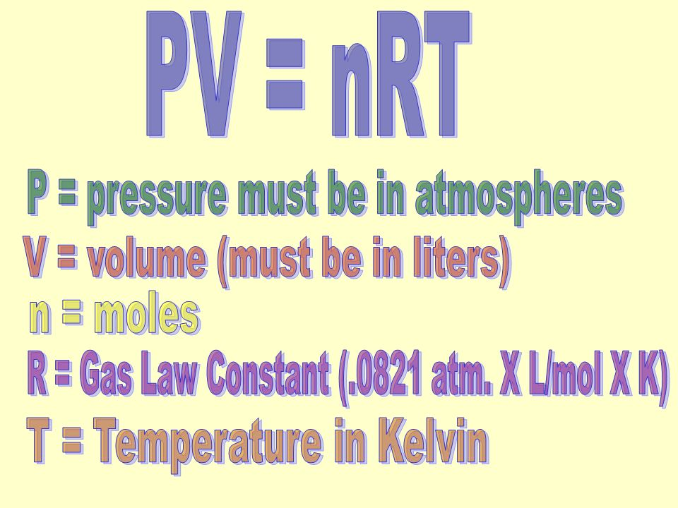 P = pressure must be in atmospheres