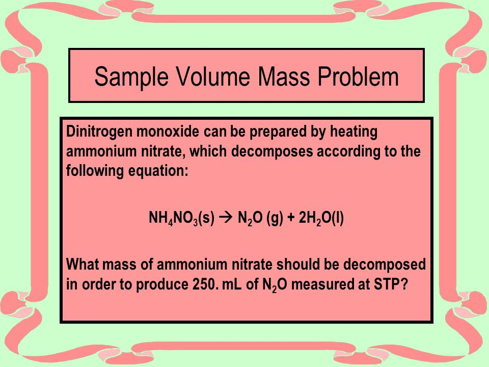 Sample Volume Mass Problem