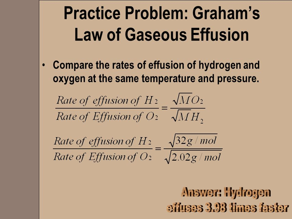 Practice Problem: Graham's Law of Gaseous Effusion