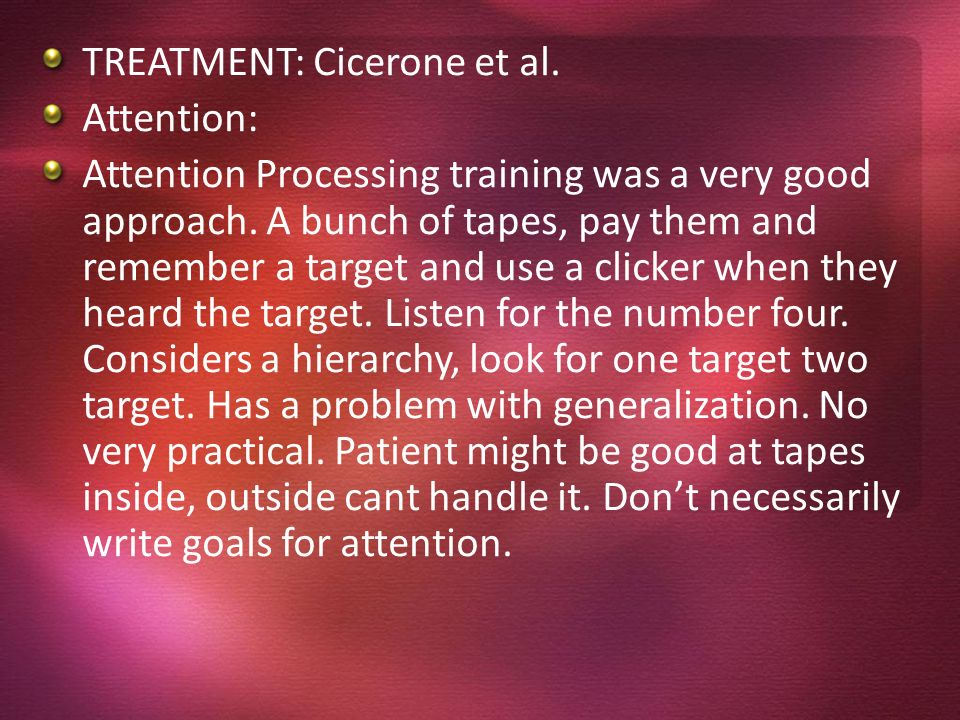 TREATMENT: Cicerone et al.