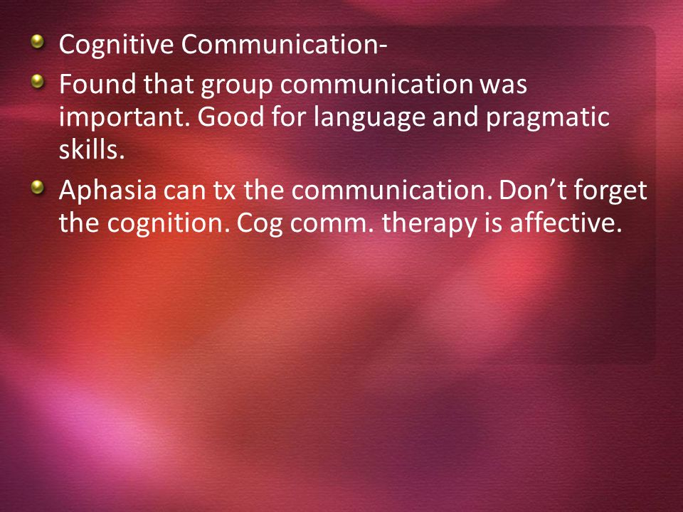 Cognitive Communication-