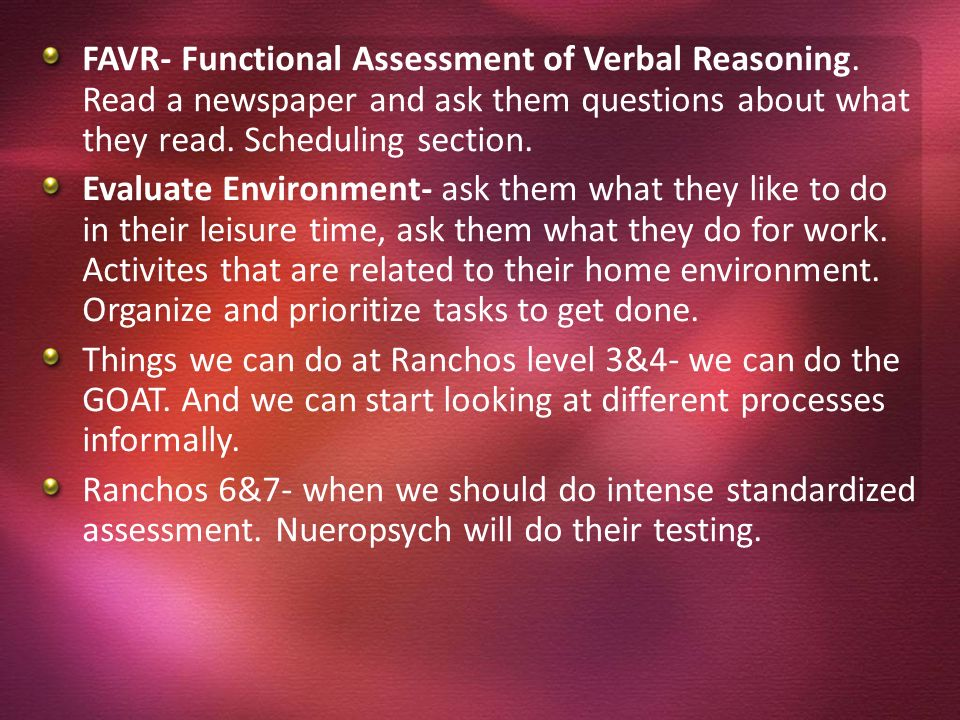 FAVR- Functional Assessment of Verbal Reasoning