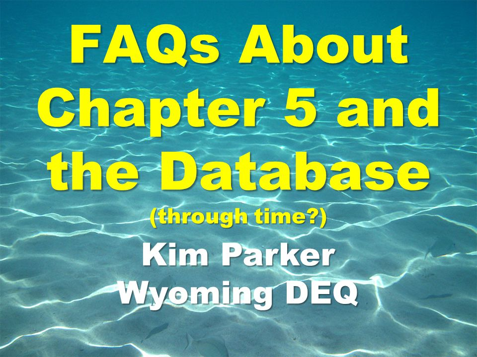 FAQs About Chapter 5 and the Database (through time )