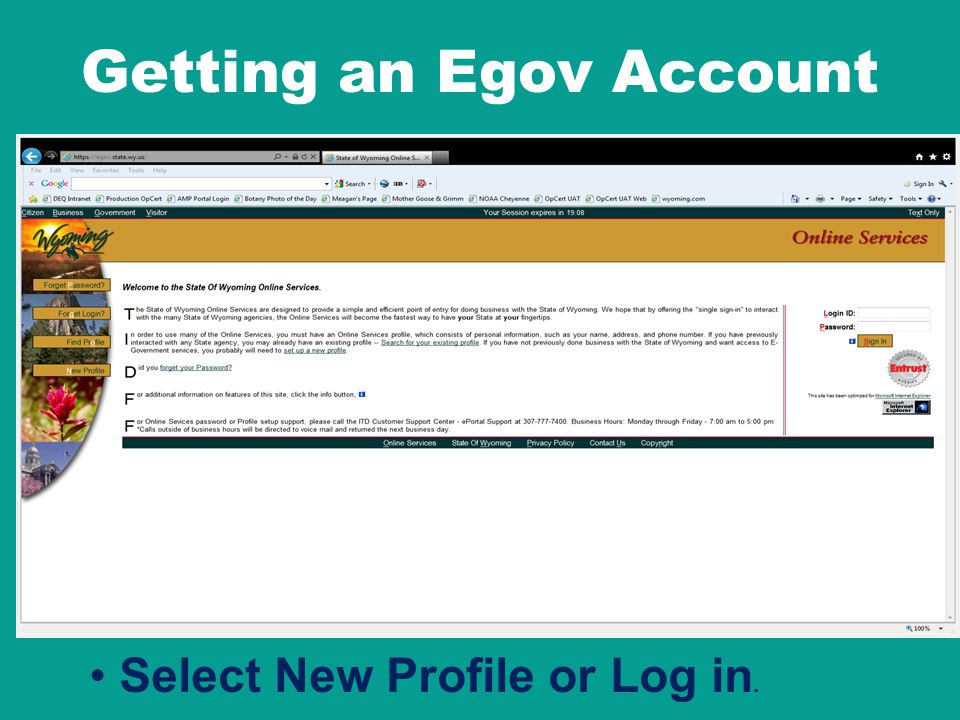 Getting an Egov Account