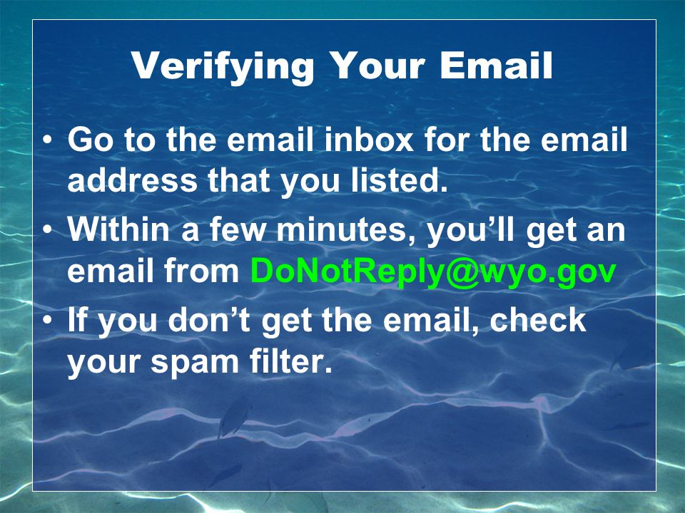 Verifying Your Email Go to the email inbox for the email address that you listed. Within a few minutes, you'll get an email from DoNotReply@wyo.gov.