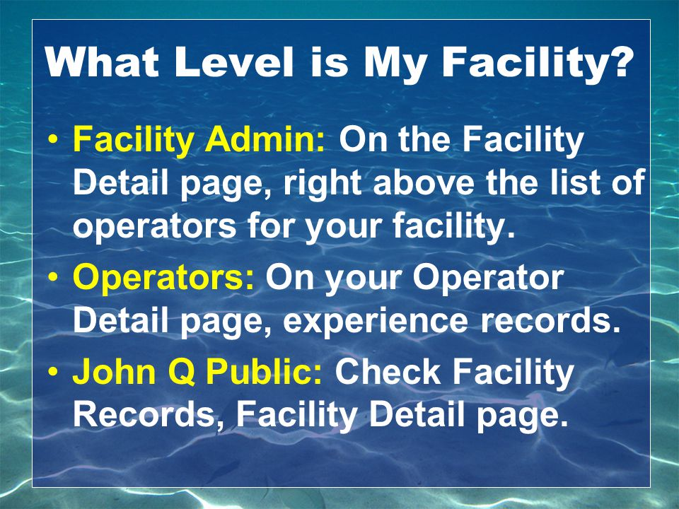 What Level is My Facility