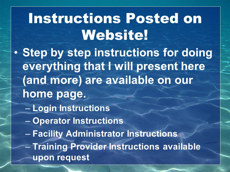 Instructions Posted on Website!