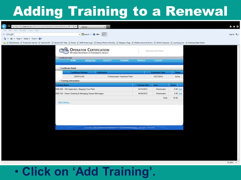 Adding Training to a Renewal
