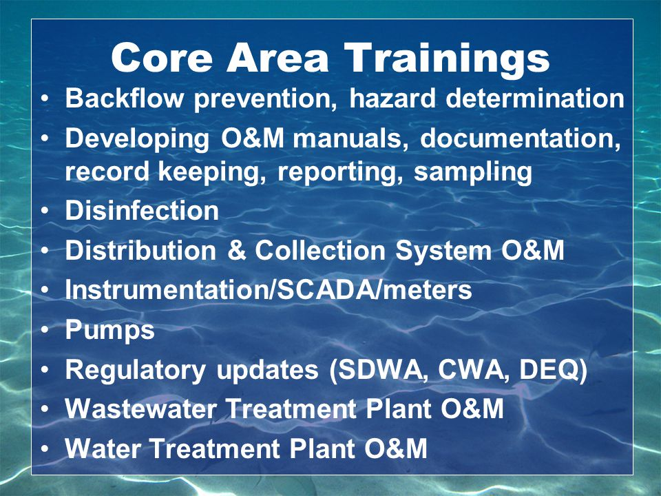 Core Area Trainings Backflow prevention, hazard determination