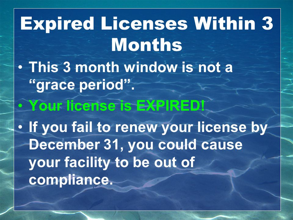 Expired Licenses Within 3 Months