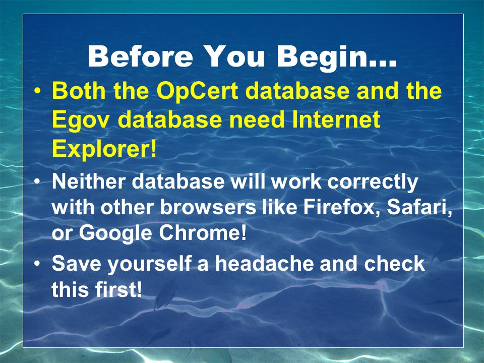 Before You Begin… Both the OpCert database and the Egov database need Internet Explorer!