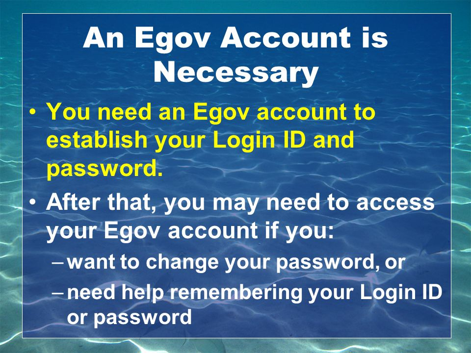 An Egov Account is Necessary