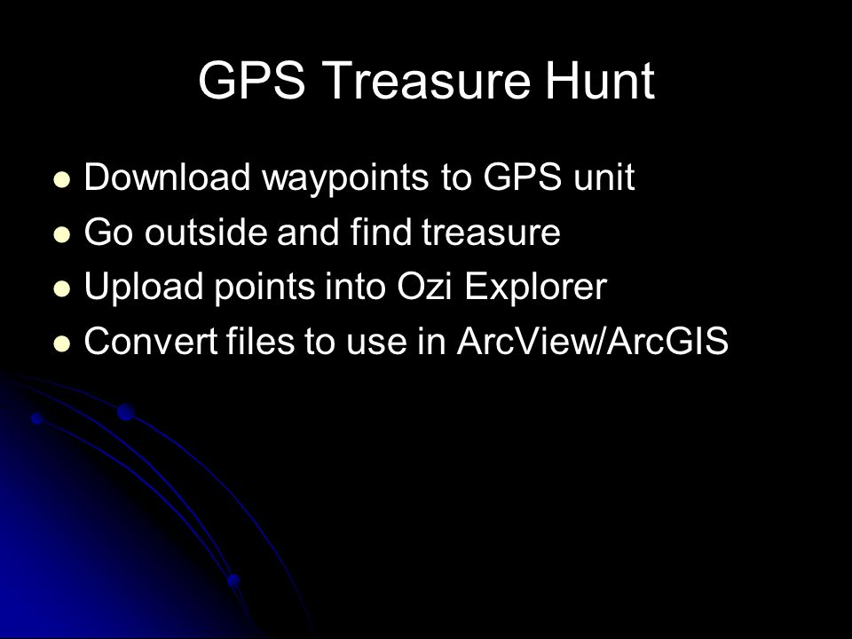 GPS Treasure Hunt Download waypoints to GPS unit