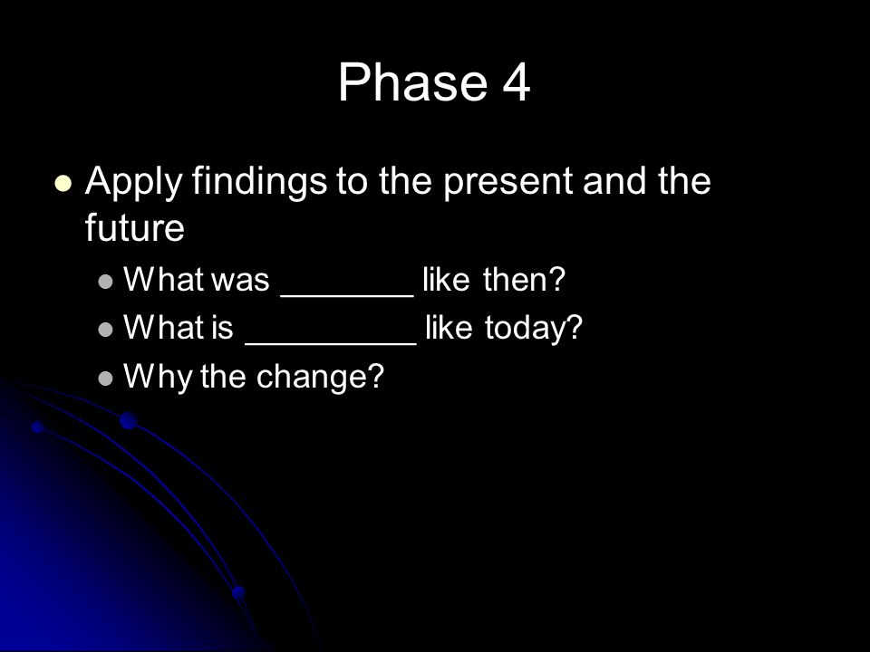 Phase 4 Apply findings to the present and the future