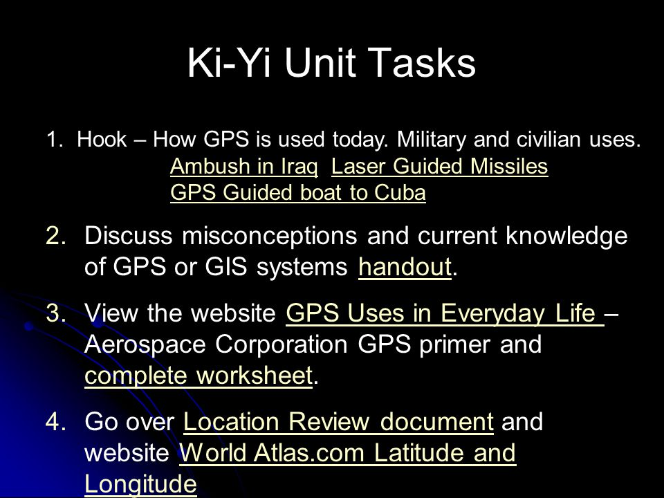 Ki-Yi Unit Tasks Hook – How GPS is used today. Military and civilian uses. Ambush in Iraq Laser Guided Missiles.