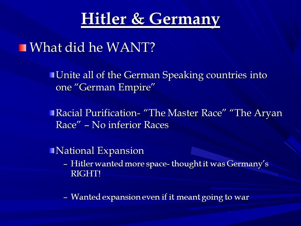 Hitler & Germany What did he WANT