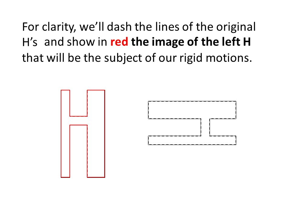 For clarity, we'll dash the lines of the original H's