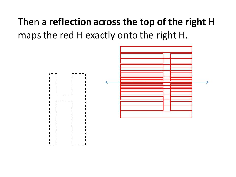 Then a reflection across the top of the right H