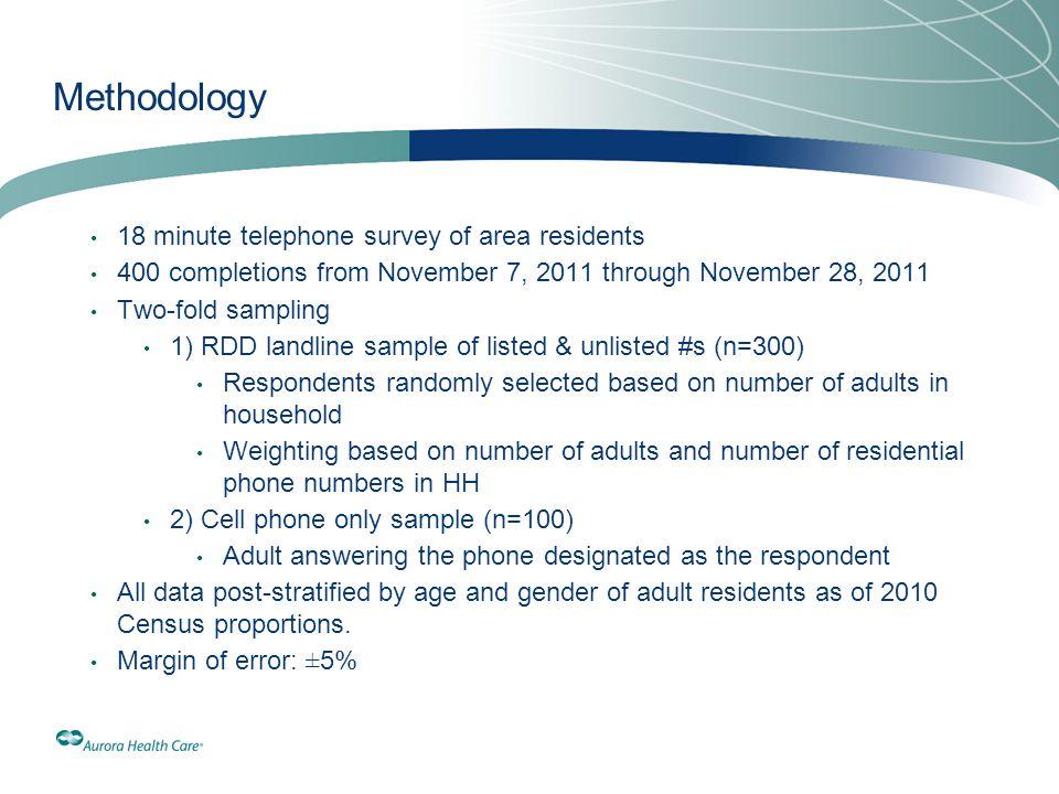 Methodology 18 minute telephone survey of area residents