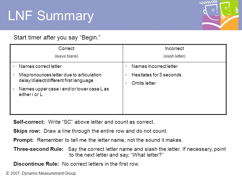 LNF Summary Start timer after you say Begin.