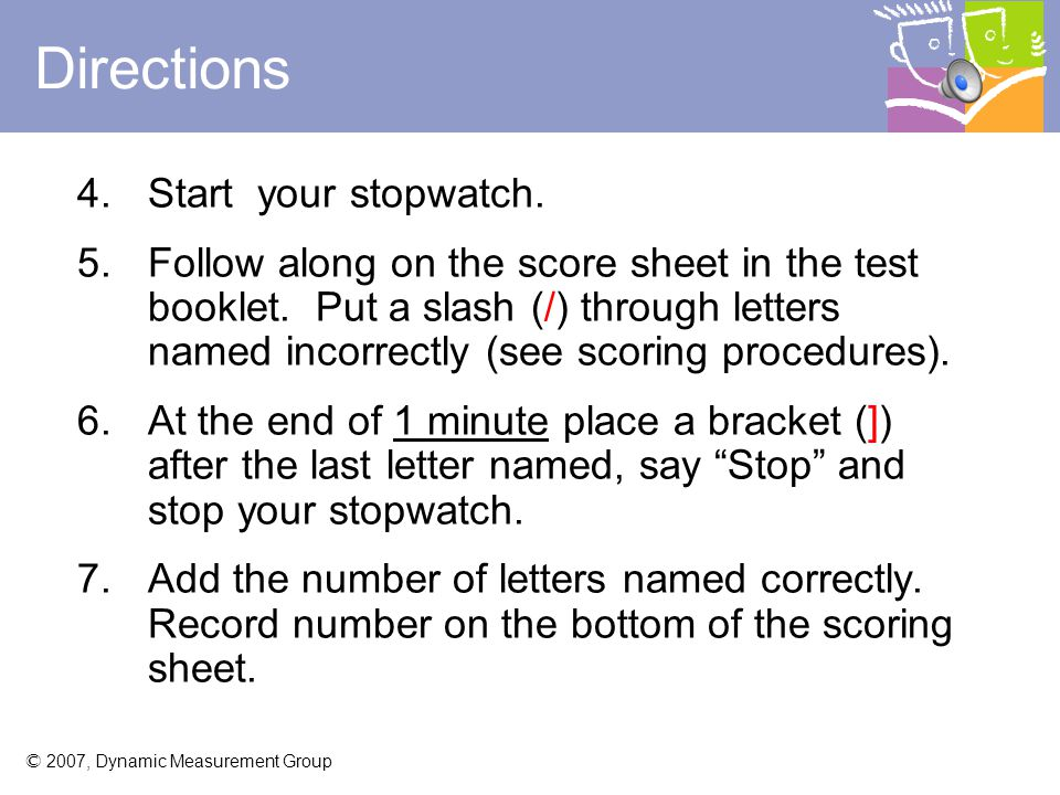 Directions Start your stopwatch.
