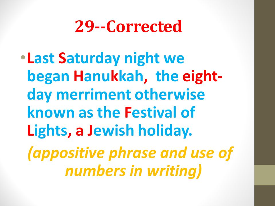 (appositive phrase and use of numbers in writing)