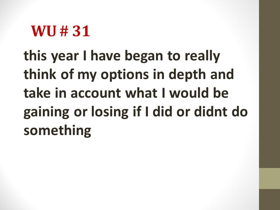 WU # 31