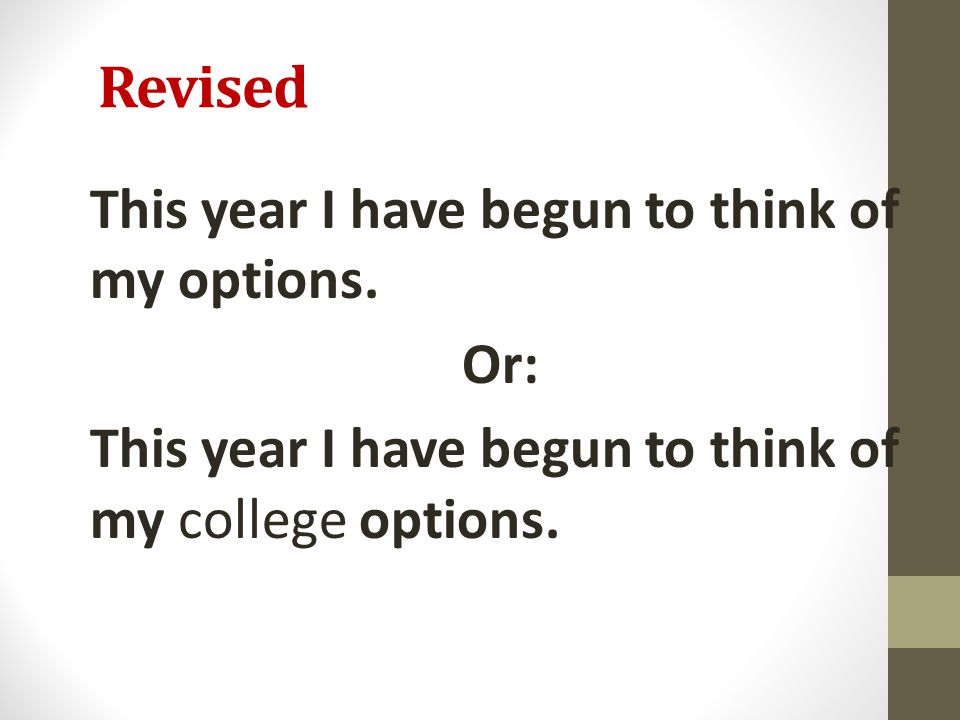 Revised This year I have begun to think of my options.