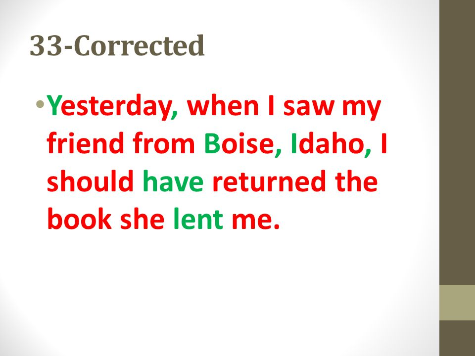 33-Corrected Yesterday, when I saw my friend from Boise, Idaho, I should have returned the book she lent me.