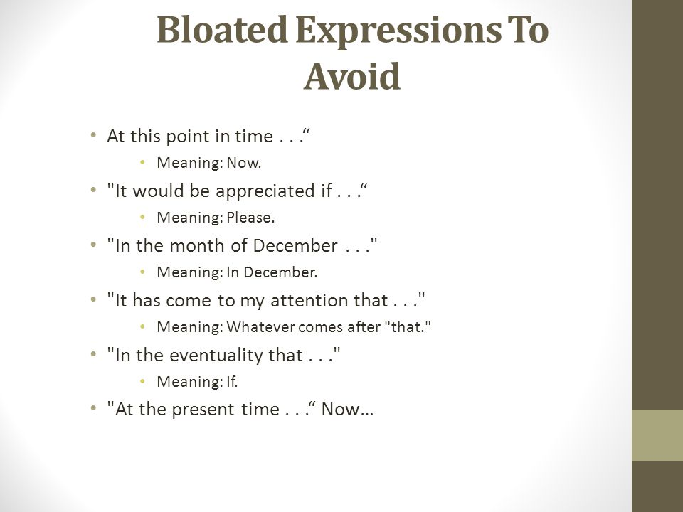 Bloated Expressions To Avoid