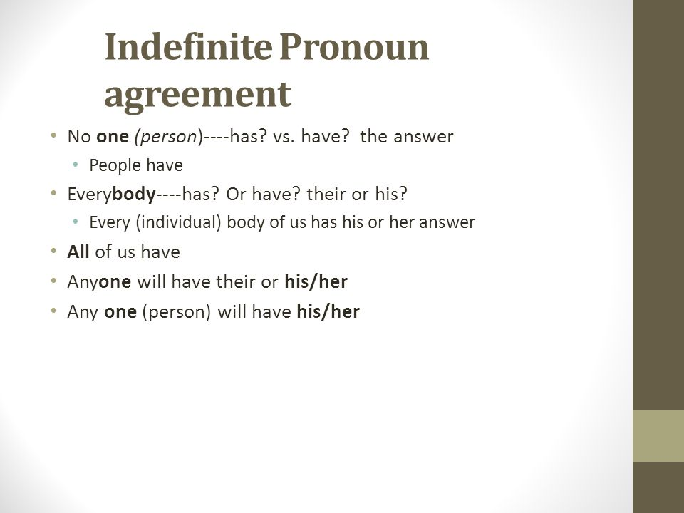 Indefinite Pronoun agreement