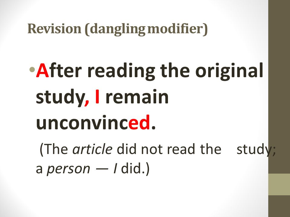 Revision (dangling modifier)