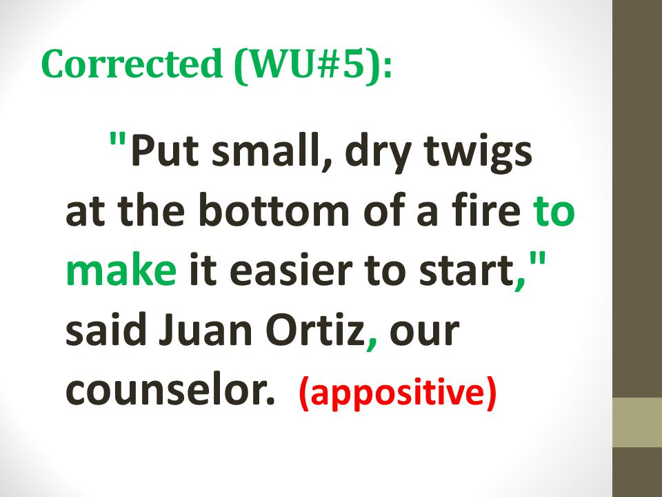 Corrected (WU#5): Put small, dry twigs at the bottom of a fire to make it easier to start, said Juan Ortiz, our counselor.
